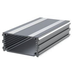 The E-Case A is an extruded aluminium box section designed to fit a 55mm wide PCB. The maximum height of components on a board is 18.6mm. In cut lengths of 40mm, 80mm or 120mm