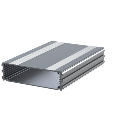 The E-Case B is an extruded aluminium box section that has been designed to fit a 100mm wide PCB or carrier plate