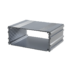 The E-Case C is an extruded aluminium box section designed for a 100mm wide PCB. The maximum height of components on a board is 33.6mm. In cut lengths of 80mm, 160mm or 220mm