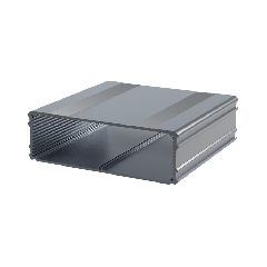 The E-Case D is an extruded aluminium box section designed for a 160mm wide PCB. The maximum height of components on a board is 40.75mm. In cut lengths of 80mm, 160mm or 220mm